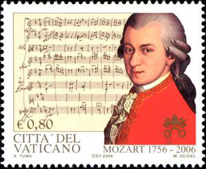 Mozart on Vatican stamp, 2006 (image)