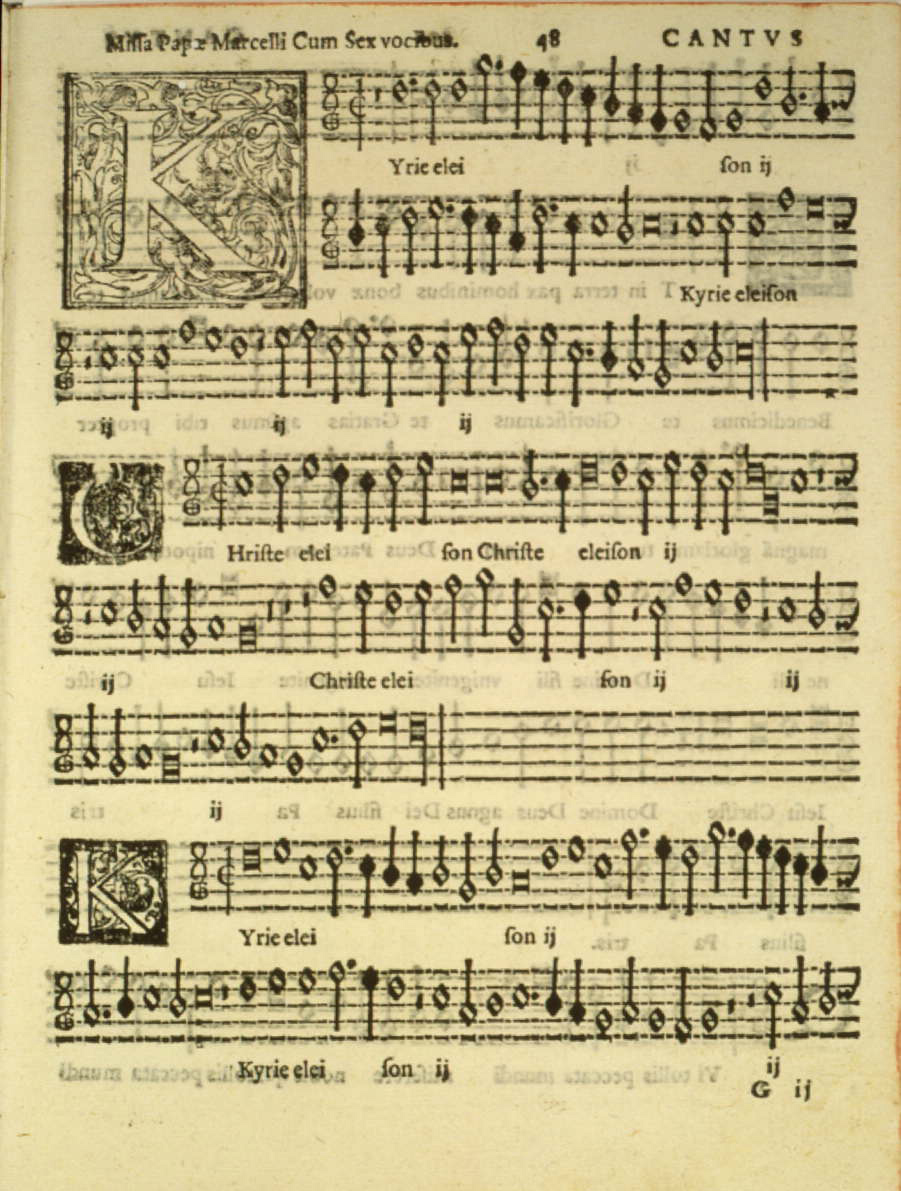 Music score for Palestrina's Missa Papae Marcelli (Mass of Pope Marcellus) (image)