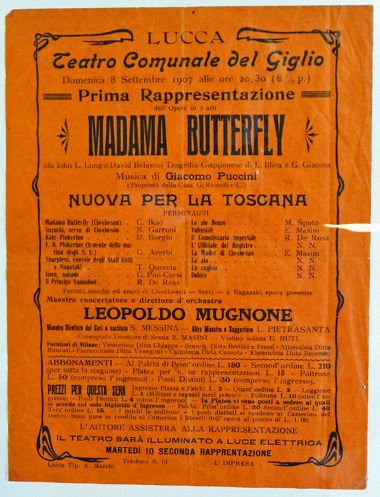 Flyer for early performance of Puccini's Madame Butterfly at Lucca, Italy (image)