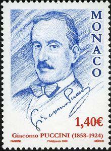 Giacomo Puccini on Monaco postage stamp (2007)