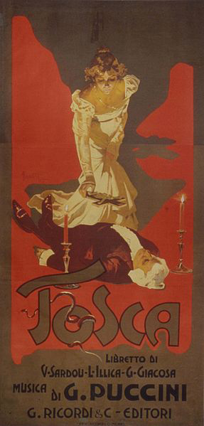 Poster for Puccini's opera, Tosca (image)