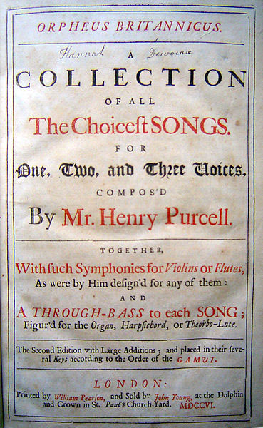 Orpheus Britannicus by Henry Purcell (2nd edition, 1706) (image)