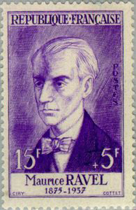 Maurice Ravel on French stamp on 1958 (image)