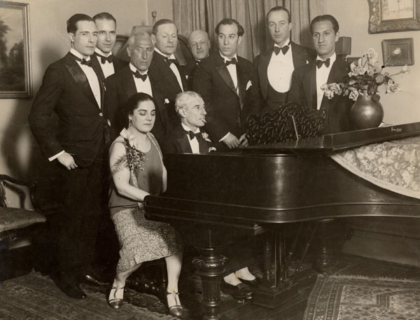 Maurice Ravel at the piano during his Amercian tour, 1928 (image)