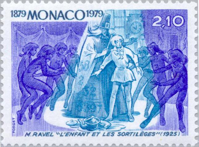 Ravel opera, L'enfant et les sortileges, on Monaco postage stamp issued 1979 (image)