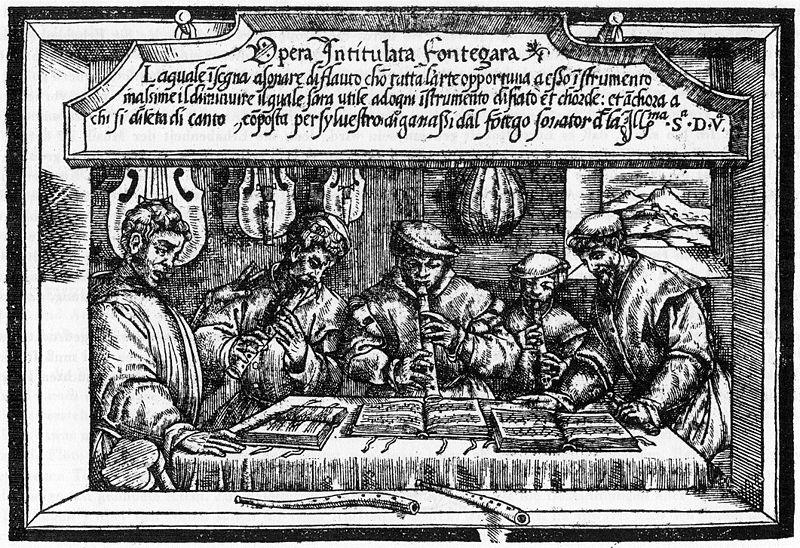 Recorders - Opera intitulata Fontegara by Ganassi - 1535 (image)