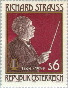 Richard Strauss on stamp issued by Austria in 1989 (image)