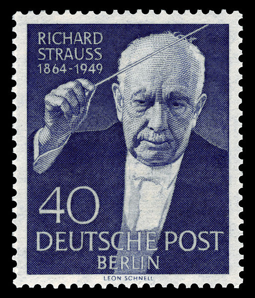 Richard Strauss on 1954 Germany postage stamp (image)