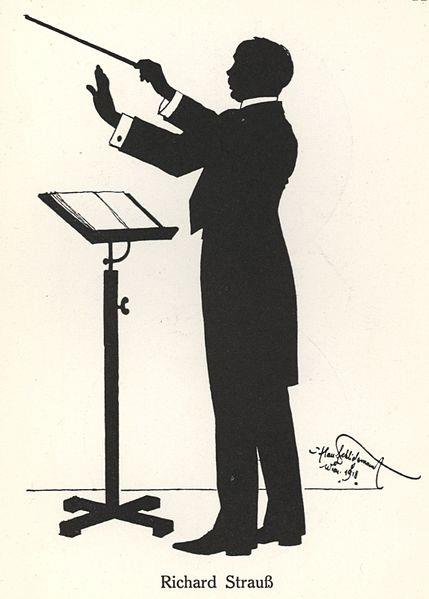 Richard Strauss, 1918, silhouette by Hans Schliessmann (image)