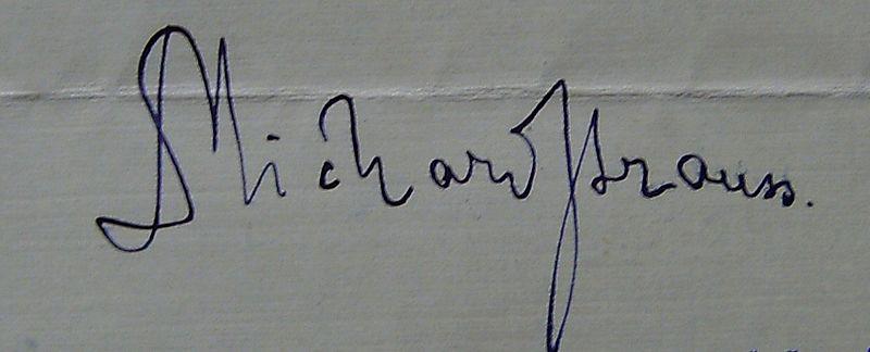 Richard Strauss signature (image)